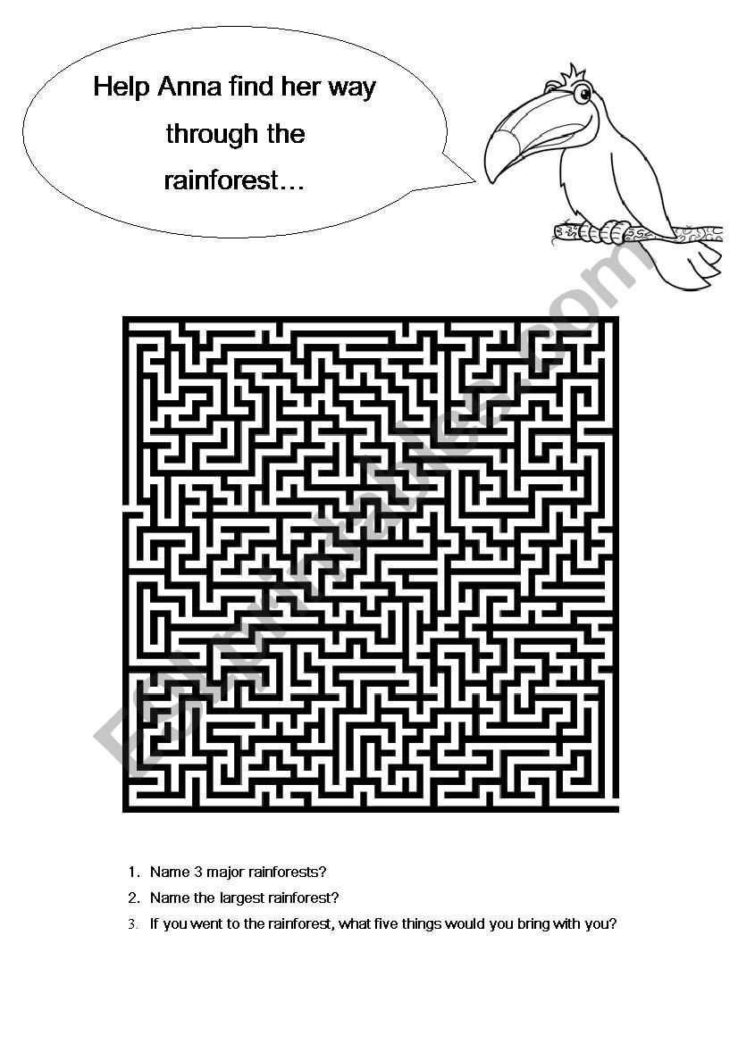 Rainforest Worksheets for Kindergarten Anna and the Rainforest Maze and Questions Esl Worksheet