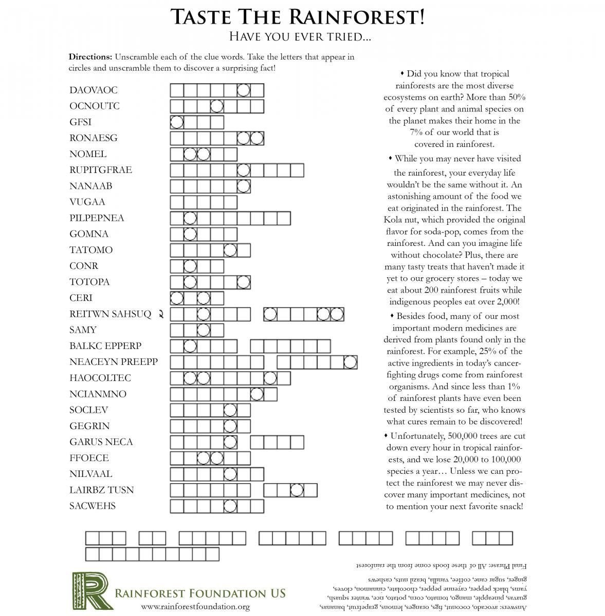 Rainforest Worksheets Free Rainforest Games and Worksheet Activities