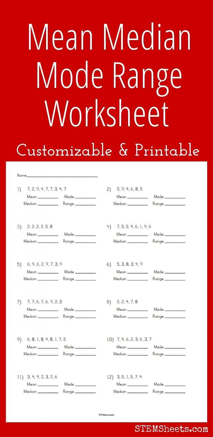 Range Mode Median Worksheets Customizable and Printable Mean Median Mode Range Worksheet