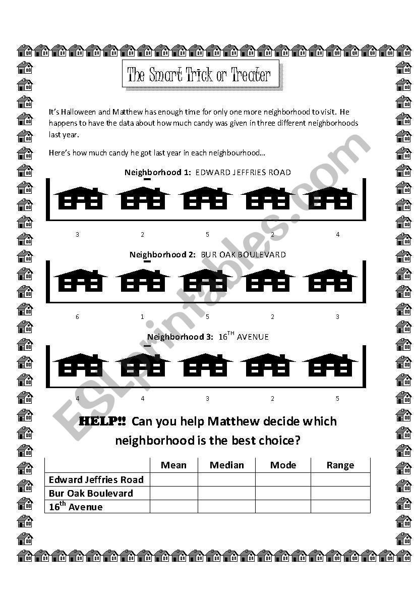 Range Mode Median Worksheets English Worksheets Math for Esl Learners Mean Median