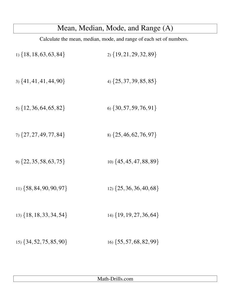 Range Mode Median Worksheets Mean Median Mode and Range sorted Sets Sets Of 5 From