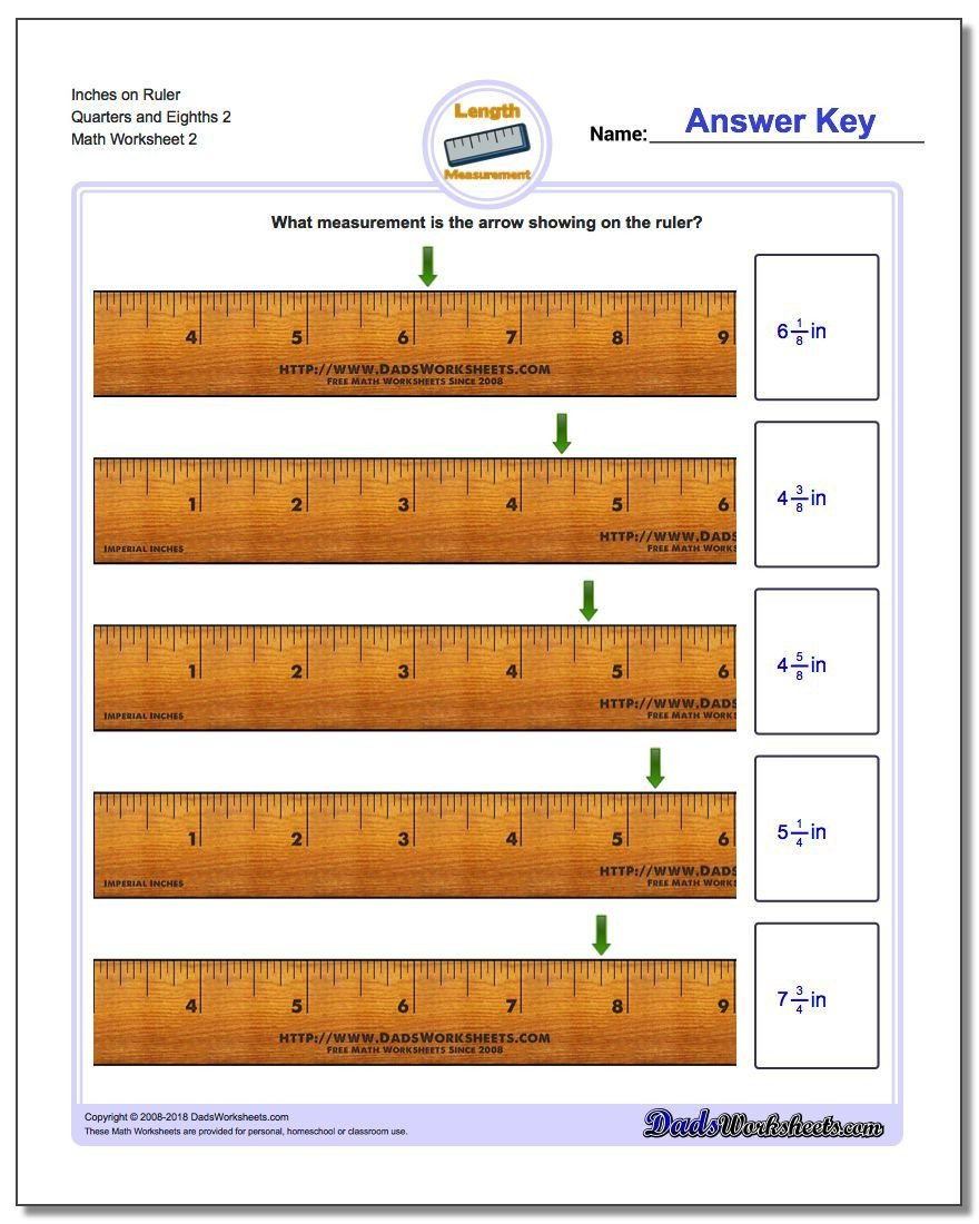 Reading A Ruler Worksheet Answers Inches On Ruler Quarters and Eighths 2 Worksheet Inches