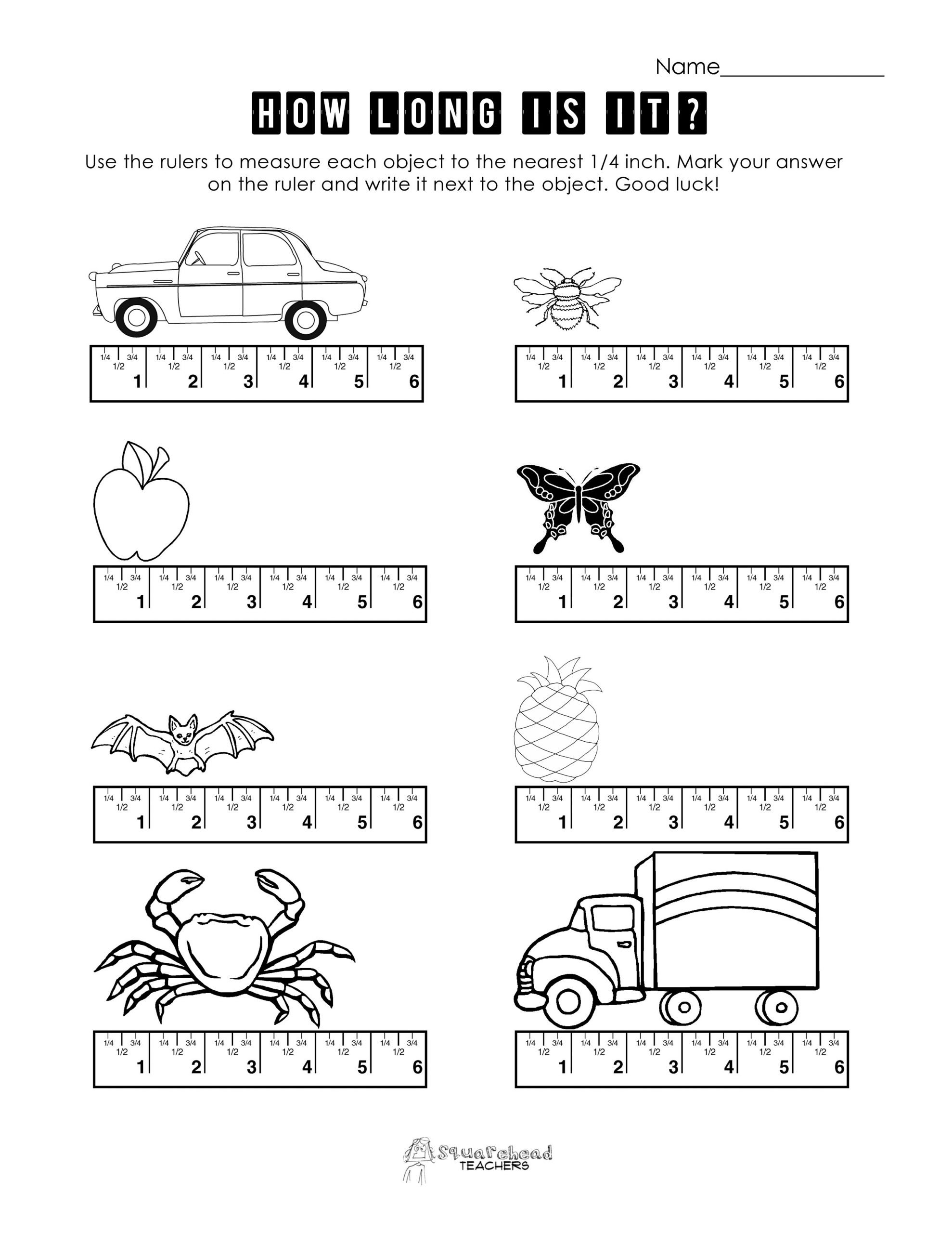 Reading A Ruler Worksheet Answers Measurement Practice 1