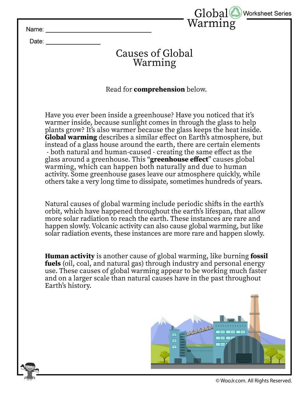 Reading A Scale Worksheet Global Warming Causes Printable Reading Worksheet
