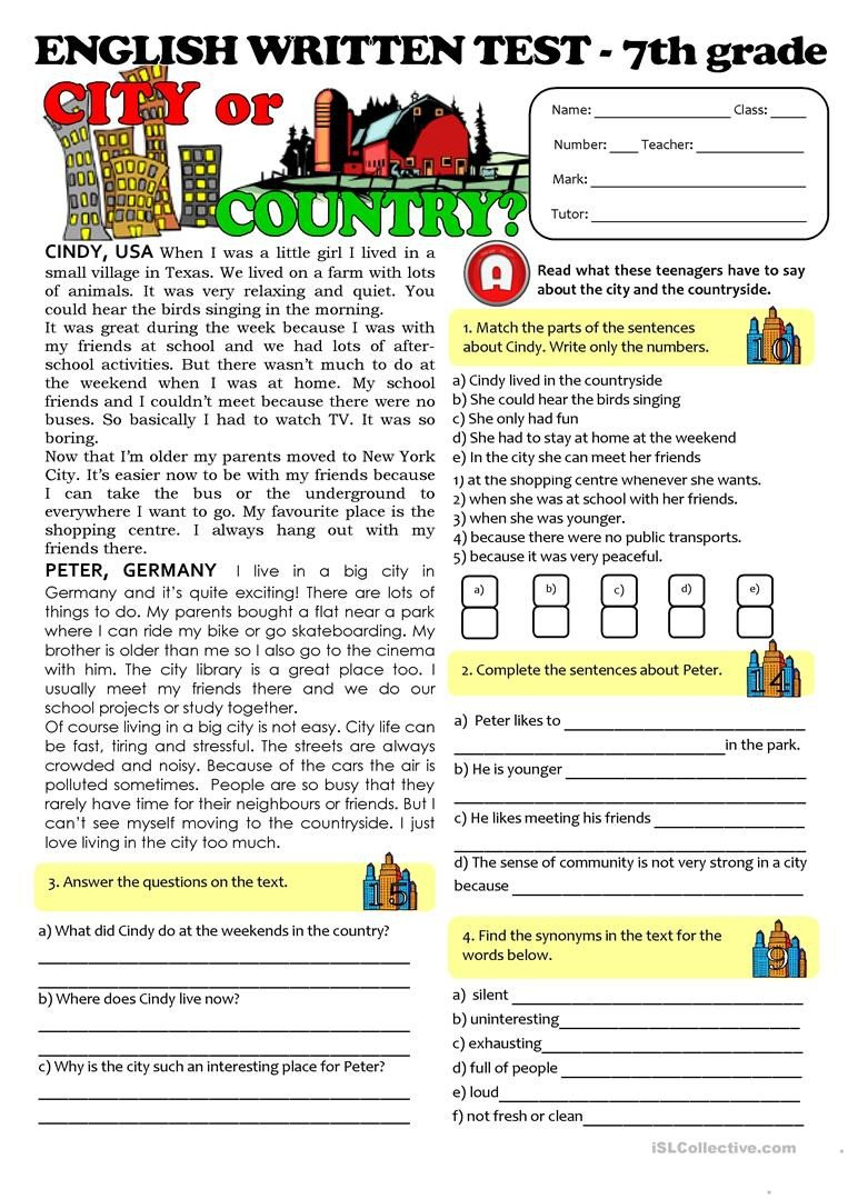 Reading Comprehension 7th Grade Worksheet City Vs Countrylife Test 7th Grade English Esl