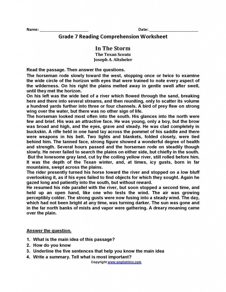 Reading Comprehension 7th Grade Worksheet Pin On Elem Reading Spelling