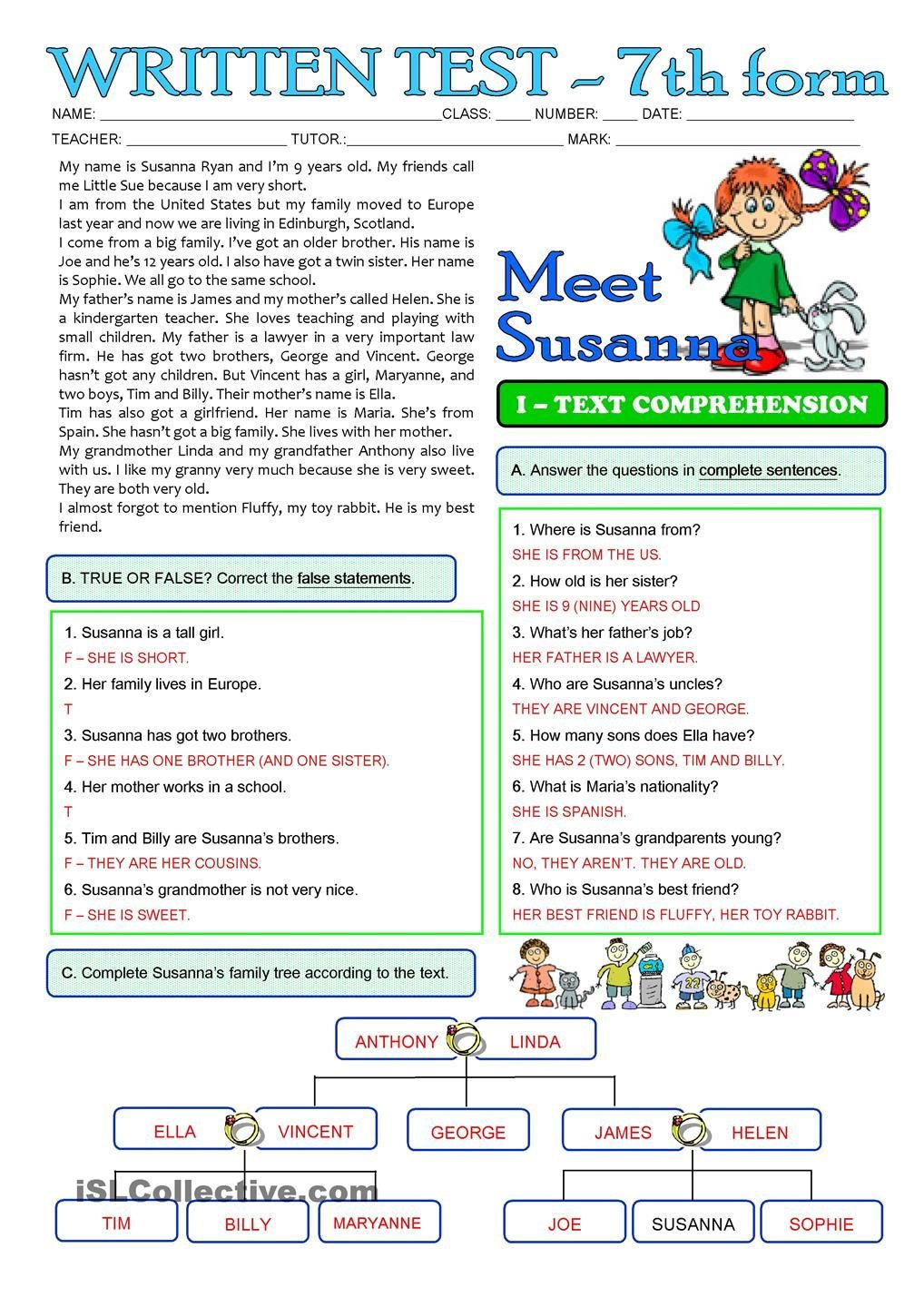 Reading Comprehension 7th Grade Worksheet Susannas Family 3 Page Test 7th Grade