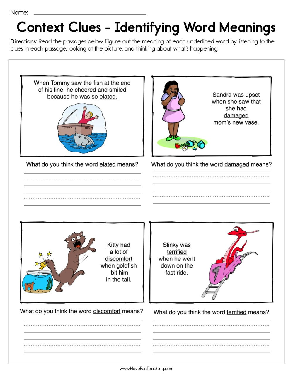 Reading In Context Worksheets Context Clues Identifying Word Meaning Worksheet