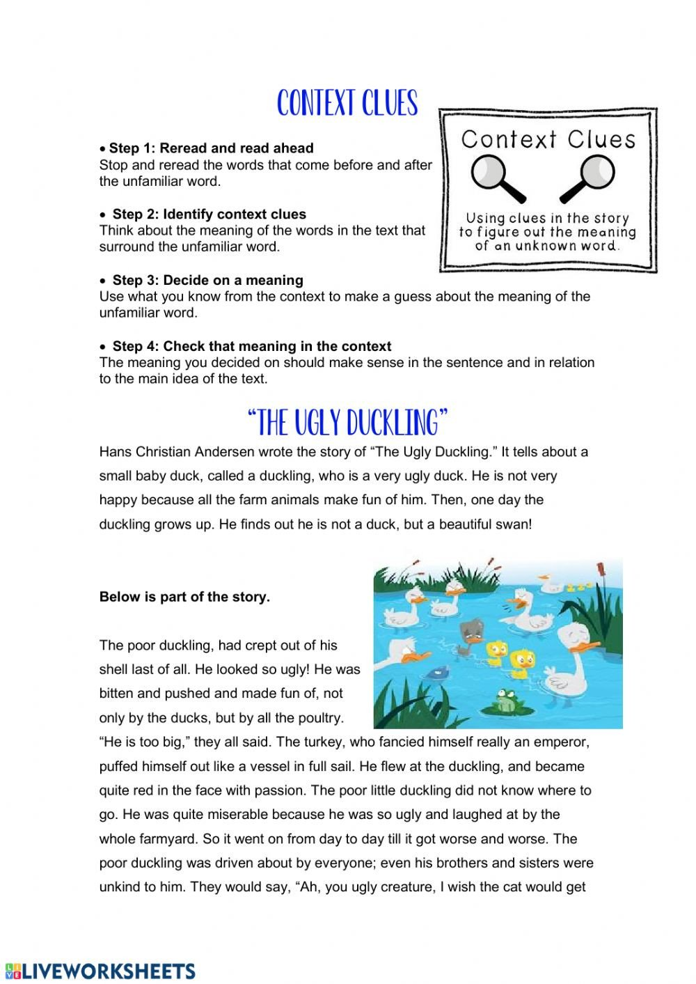 Reading In Context Worksheets Context Clues Interactive Worksheet