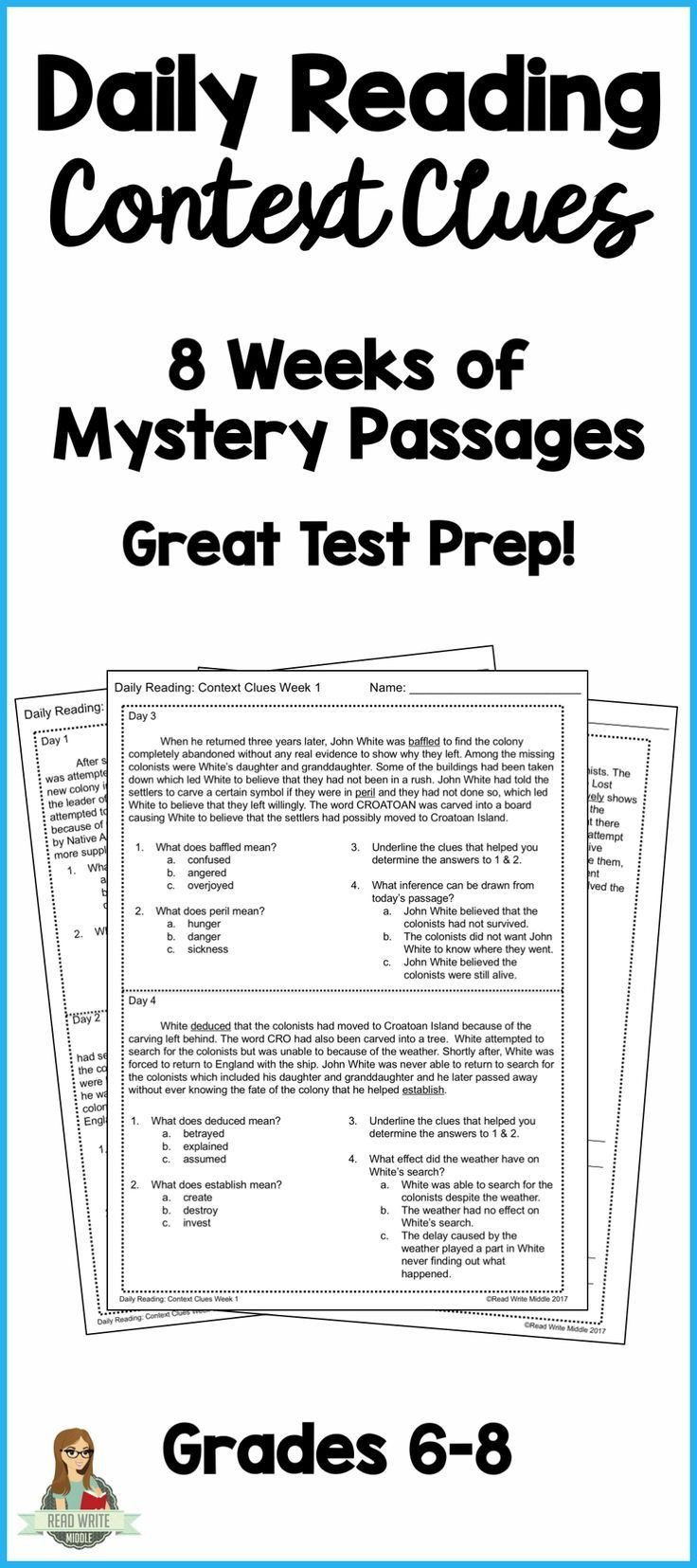 Reading In Context Worksheets Daily Reading Context Clues Reading Prehension Passages