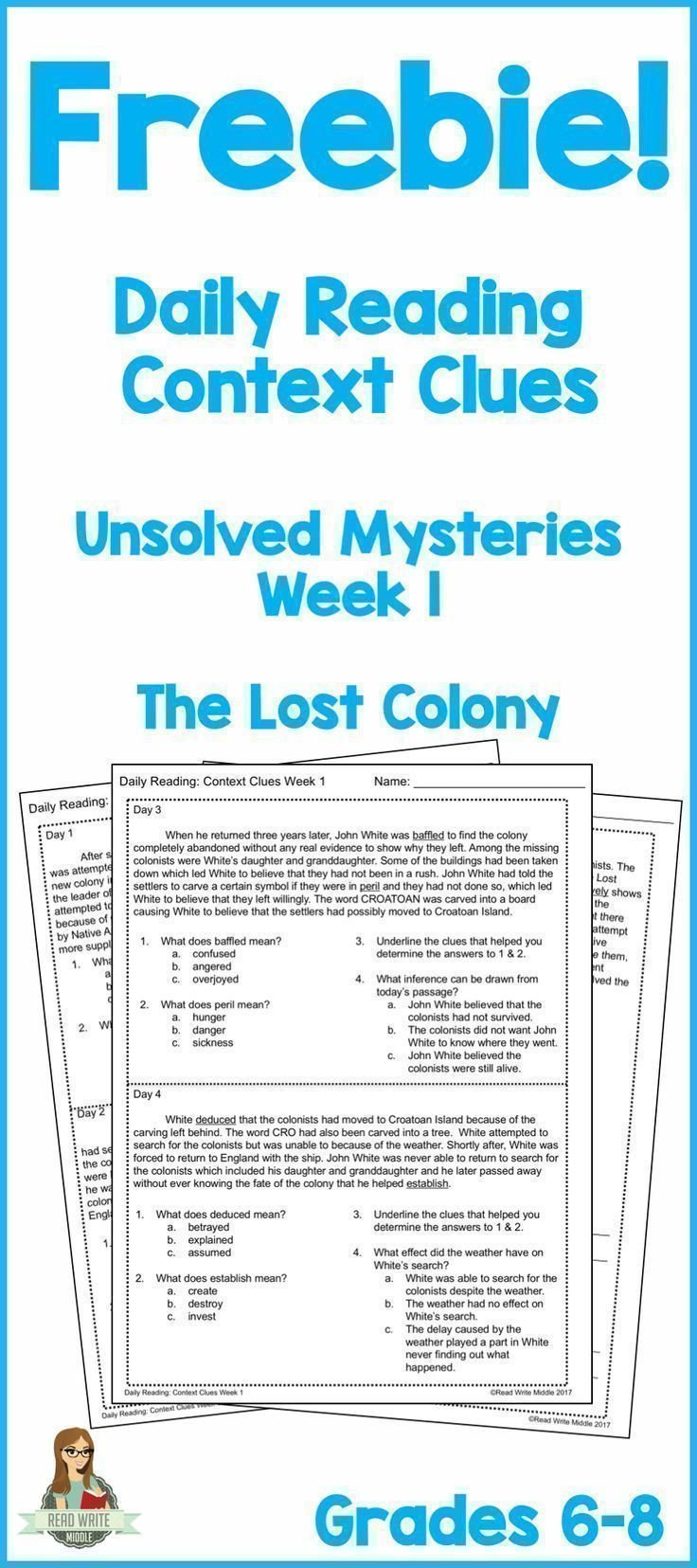 Reading In Context Worksheets Daily Reading Context Clues Week 1