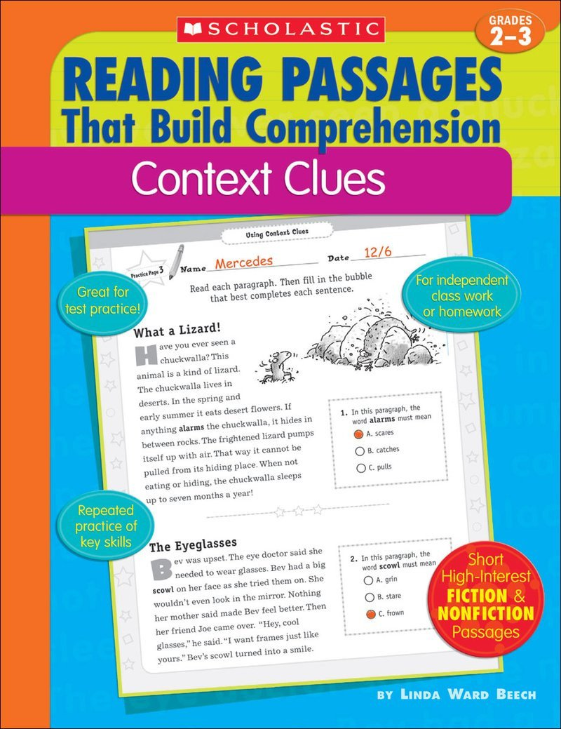 Reading In Context Worksheets Reading Passages that Build Prehension Context Clues by