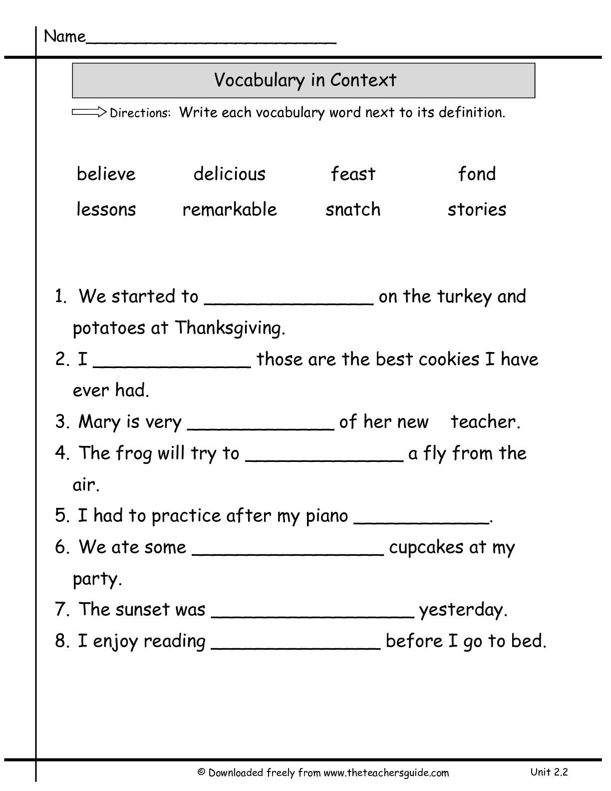 Reading In Context Worksheets the Math 1st Grade Reading Worksheets Vocab In Context