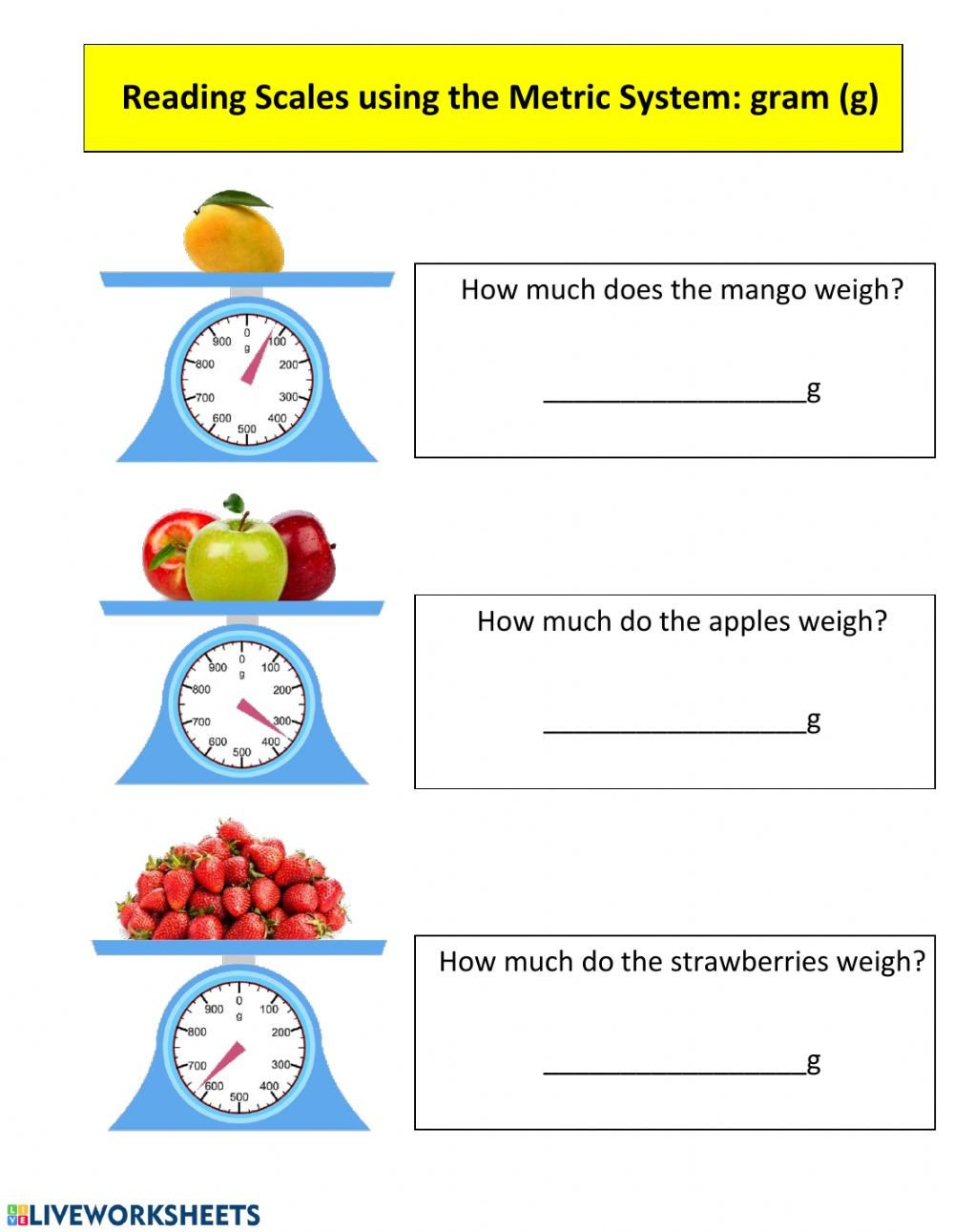 Reading Scales Worksheets Reading Scales In the Metric System Gram G Interactive