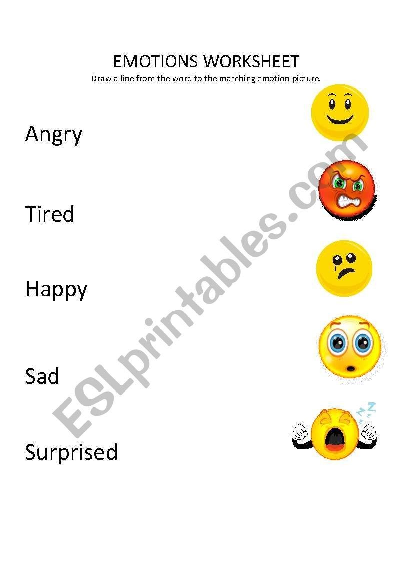 Recognizing Emotions Worksheets Emotions Match Up Esl Worksheet by Shell83