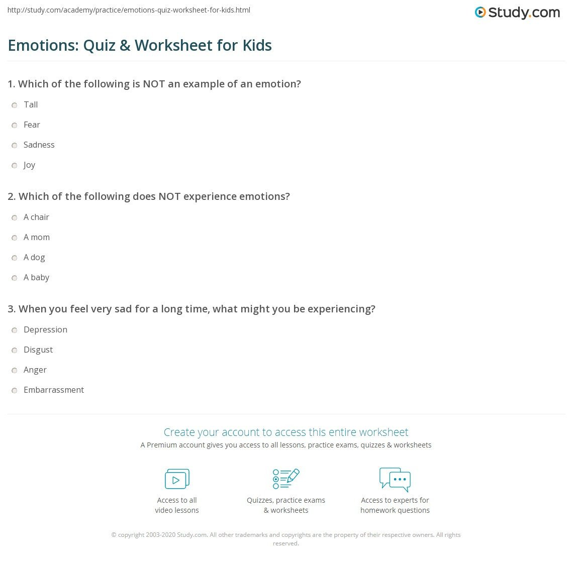 Recognizing Emotions Worksheets Emotions Quiz & Worksheet for Kids