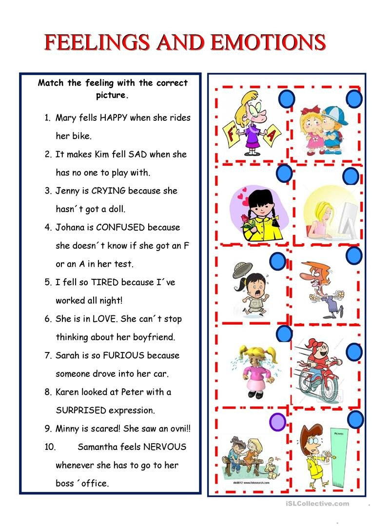 Recognizing Emotions Worksheets English Esl Feelings Emotions Worksheets Most Ed
