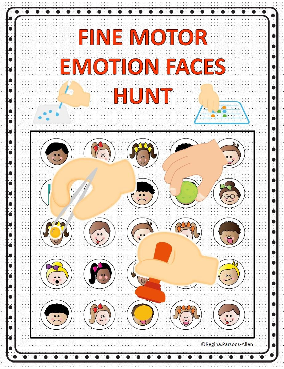 Recognizing Emotions Worksheets Fine Motor Emotions Hunt