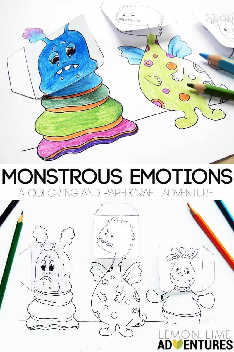 Recognizing Emotions Worksheets Monstrous Emotions Printable Simple Emotions Activity for Kids