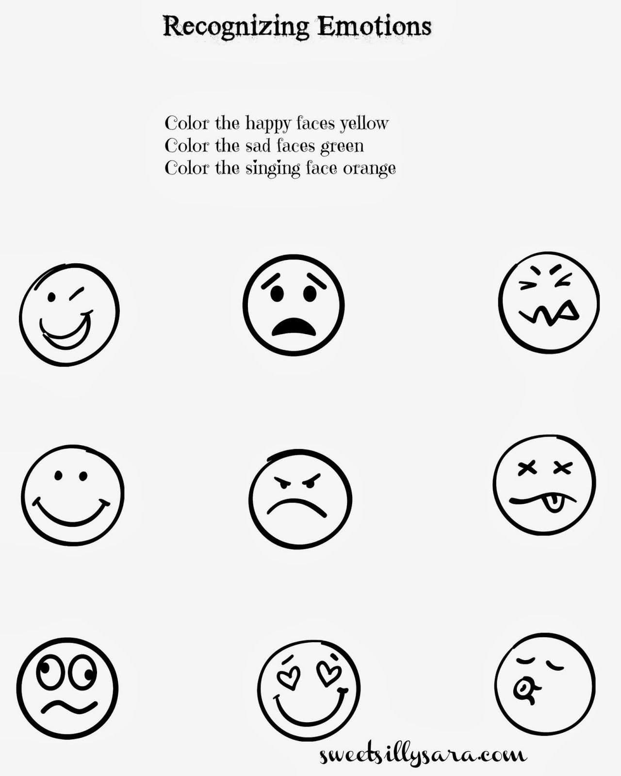 Recognizing Emotions Worksheets Sweet Silly Sara Recognizing Emotions Worksheet