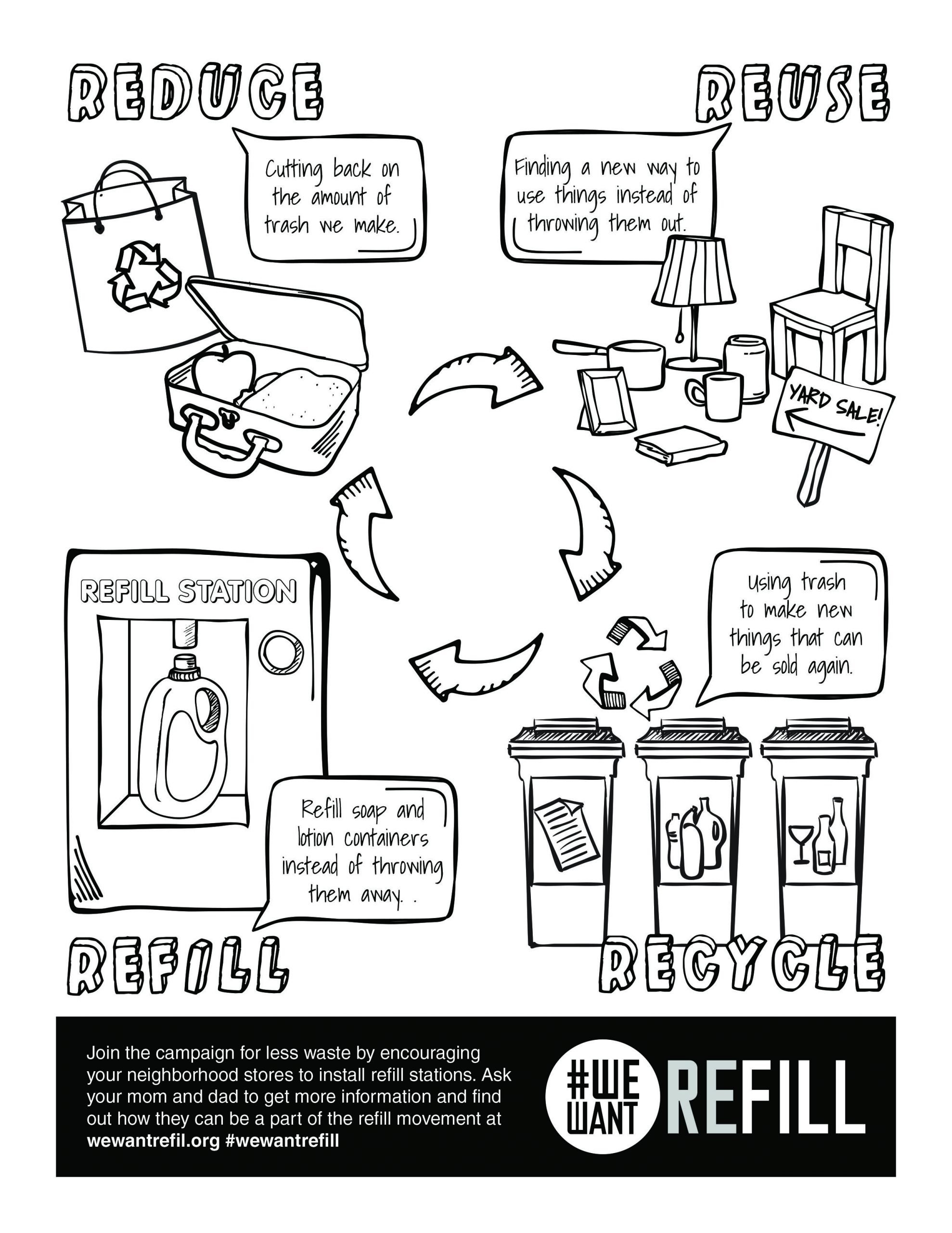 Recycling Worksheets for Kindergarten Free Downloadable Coloring Page for Kids We Want Refill
