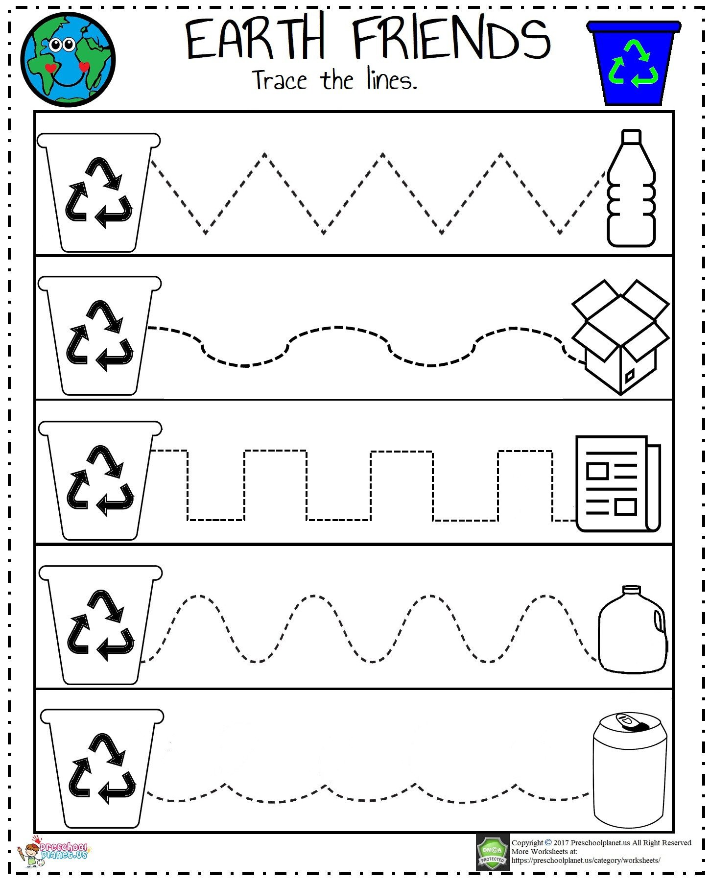 Recycling Worksheets for Kindergarten Preschoolplanet – Preschool Craft Ideas and Worksheets