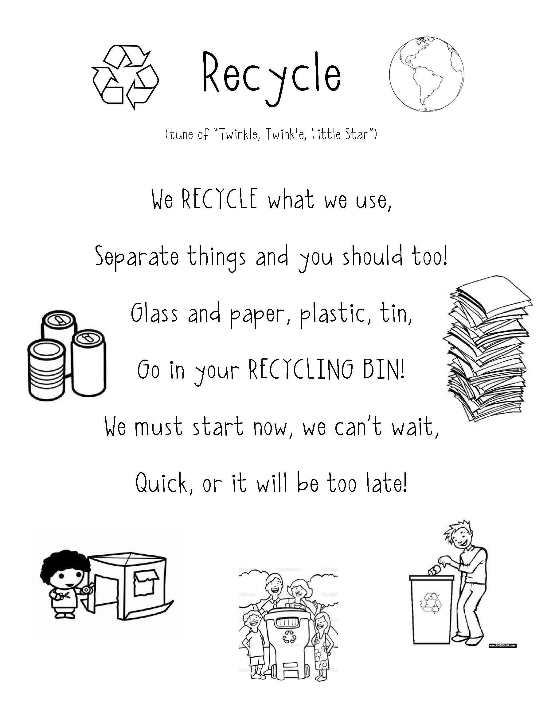Recycling Worksheets for Kindergarten Recycle Poem Super Cute for Preschool and Teaching Students