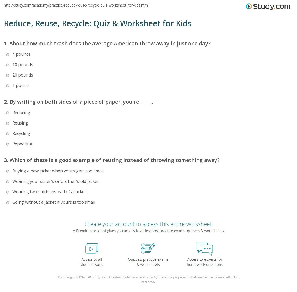 Recycling Worksheets for Kindergarten Reduce Reuse Recycle Quiz & Worksheet for Kids