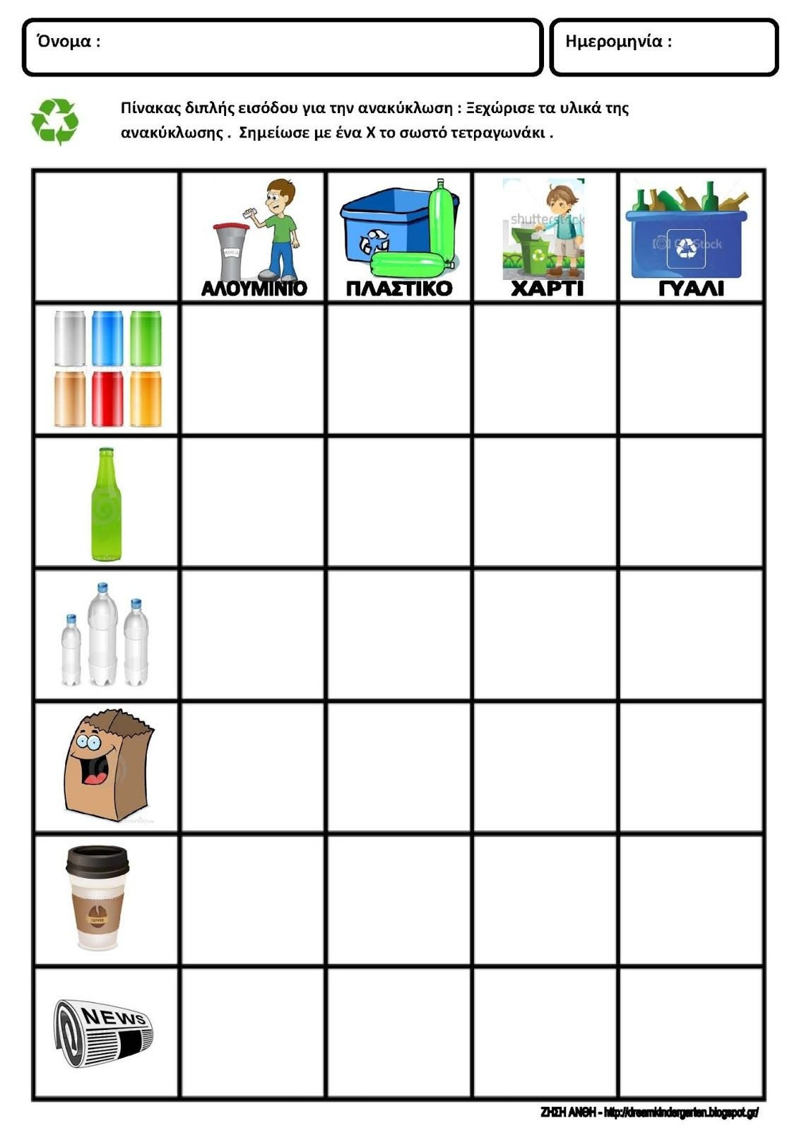 Recycling Worksheets for Kindergarten Reduce Reuse Recycle Worksheet