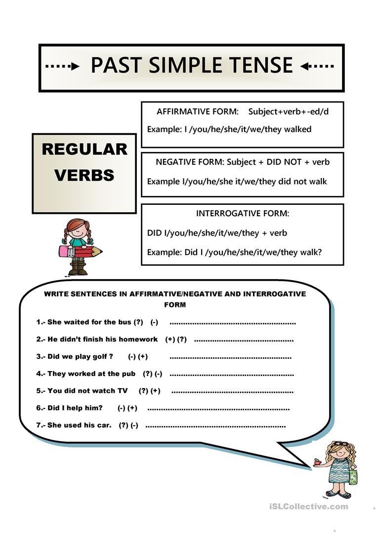 simple past tense regular verbs tests 1
