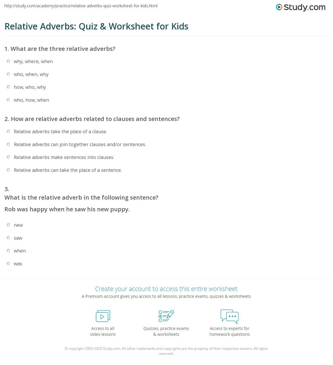 Relative Adverbs Worksheet 4th Grade Relative Adverbs Quiz & Worksheet for Kids