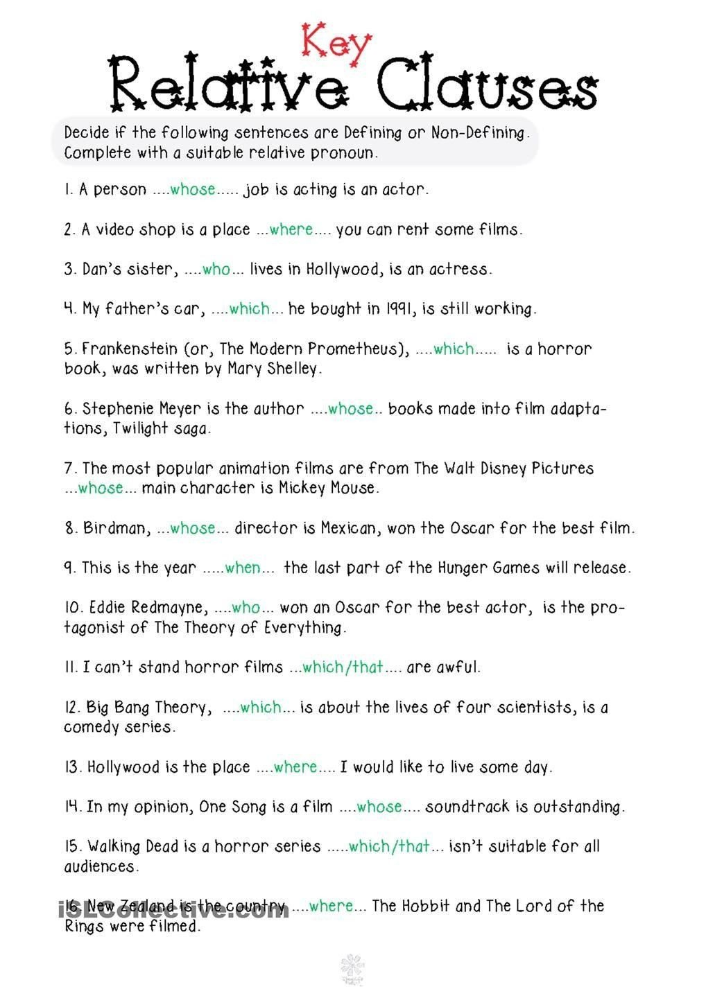 Relative Adverbs Worksheet 4th Grade Relative Pronouns Worksheet Grade 4 Relative Clauses In 2020