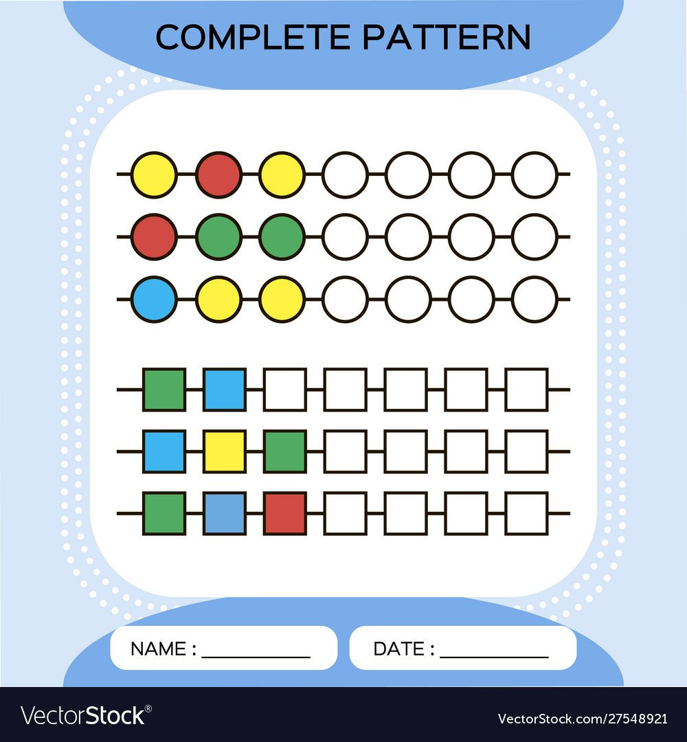 plete repeating patterns worksheet for vector