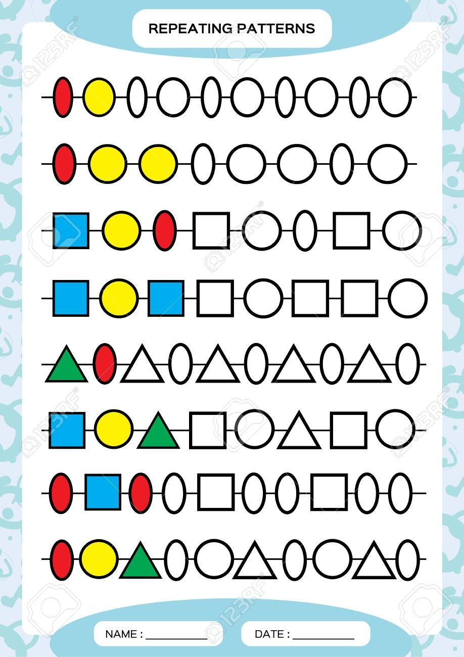 Repeating Patterns Worksheets Plete Repeating Patterns Worksheet for Preschool Kids Practicing