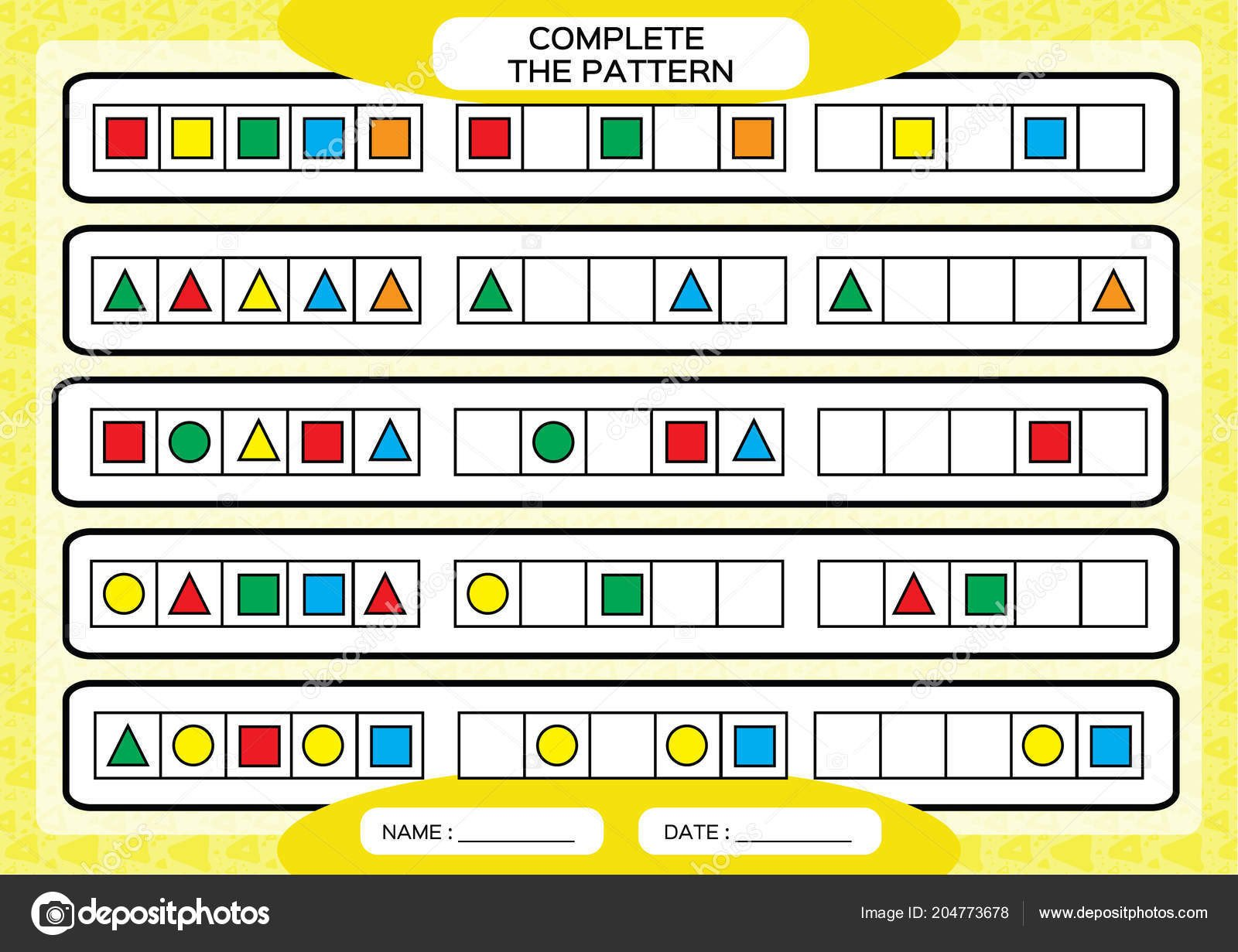 Repeating Patterns Worksheets Plete Simple Repeating Patterns Worksheet for Preschool Kids Practicing Motor Skills Improving Skills Tasks Plete the Pattern with