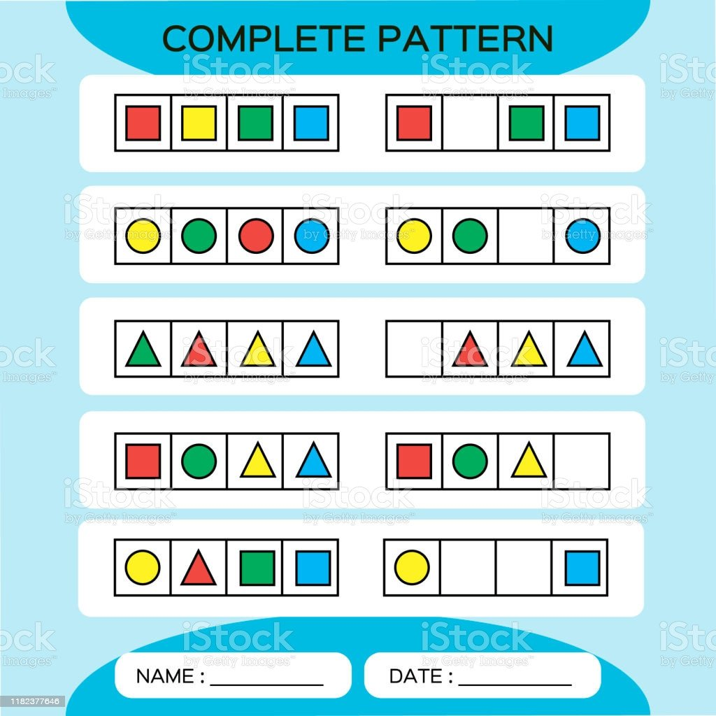 repeat pattern square grid with colorfull shapes special for preschool kids color gm