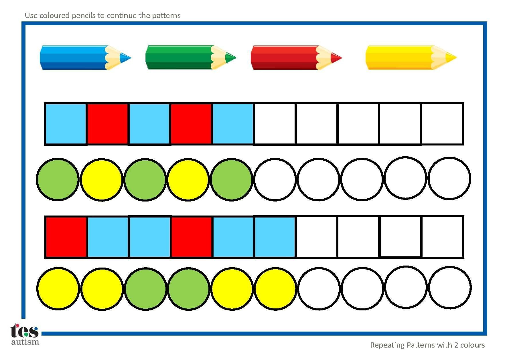 Repeating Patterns Worksheets Repeating Patterns with 2 Colours 4 Worksheet Activities