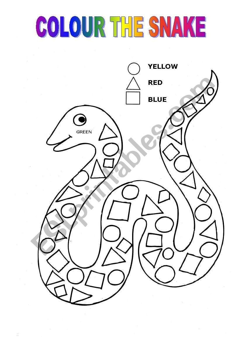 Reptiles Worksheets for Kindergarten Colour the Snake Following the Instructions Shapes