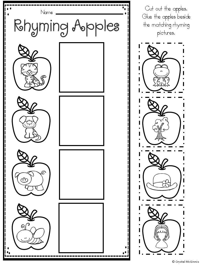Rhyme Worksheets for Kindergarten Apple Printables for Kindergarten