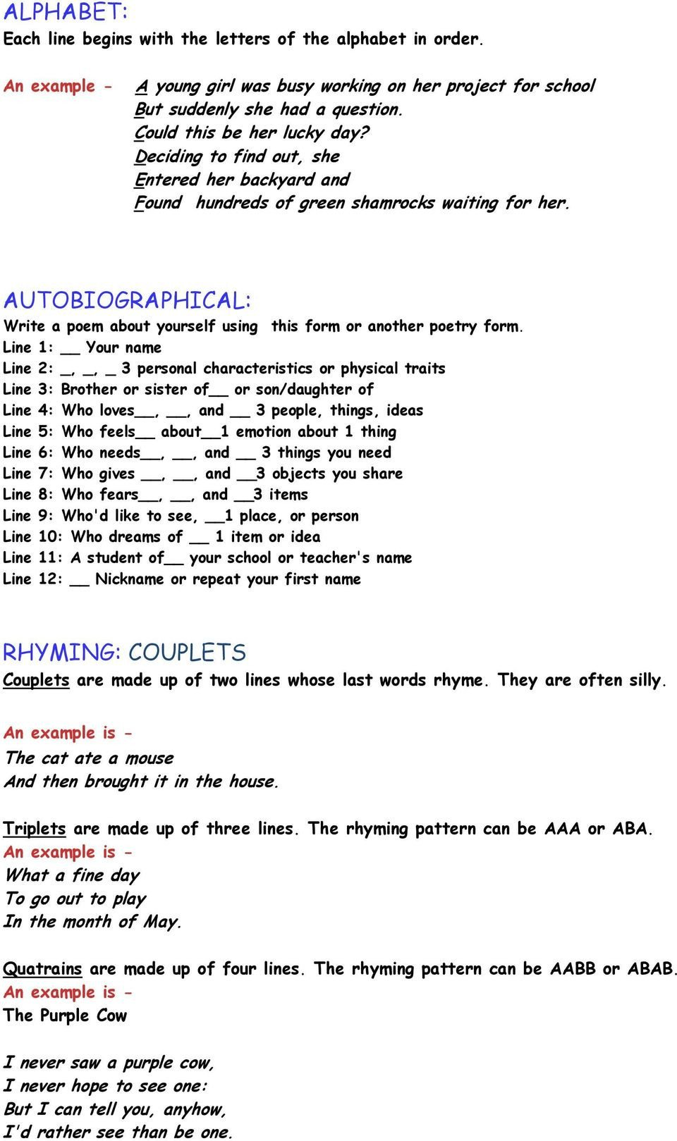 Rhyming Couplets Worksheet Alphabet Autobiographical Rhyming Couplets Pdf Free