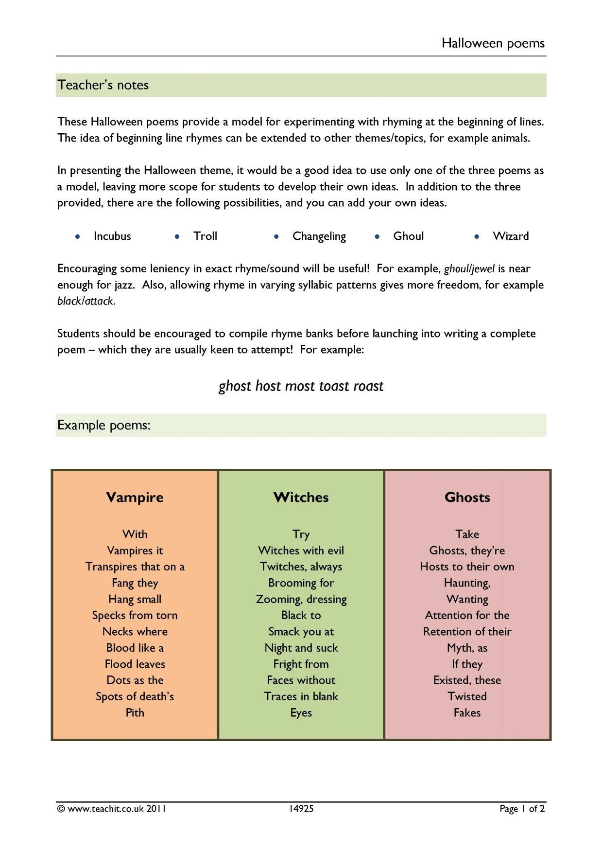 Rhyming Couplets Worksheet Ks3 Writing Writing Poetry