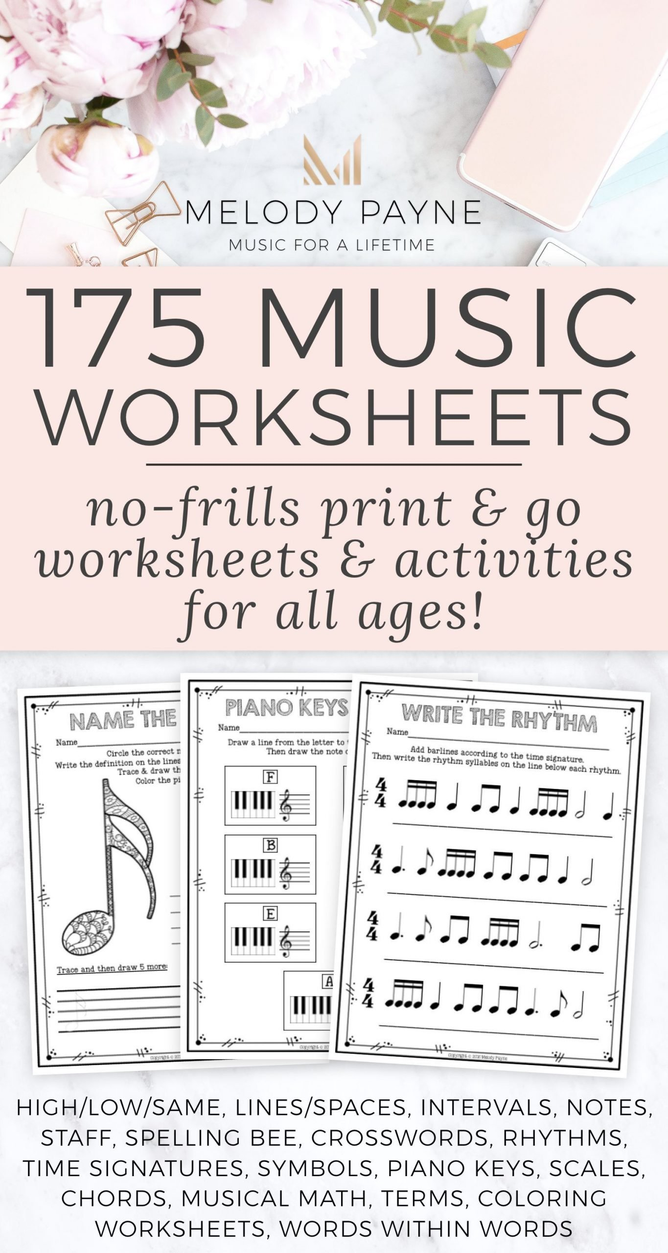 175 printable no frills music worksheets for elementary 696x1305