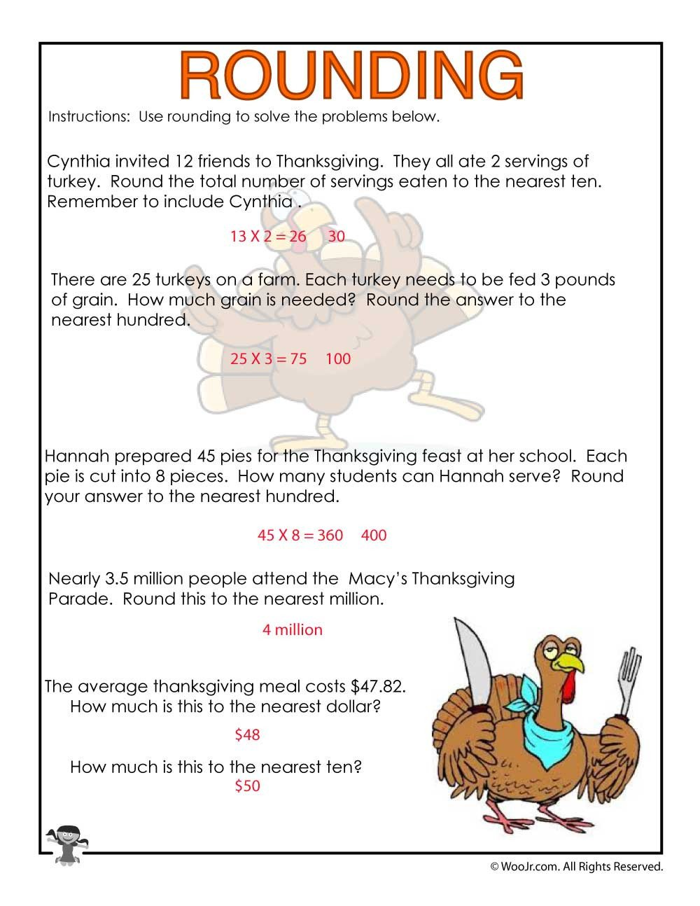 Tens and Hundreds Rounding Word Problems Worksheet ANSWERS