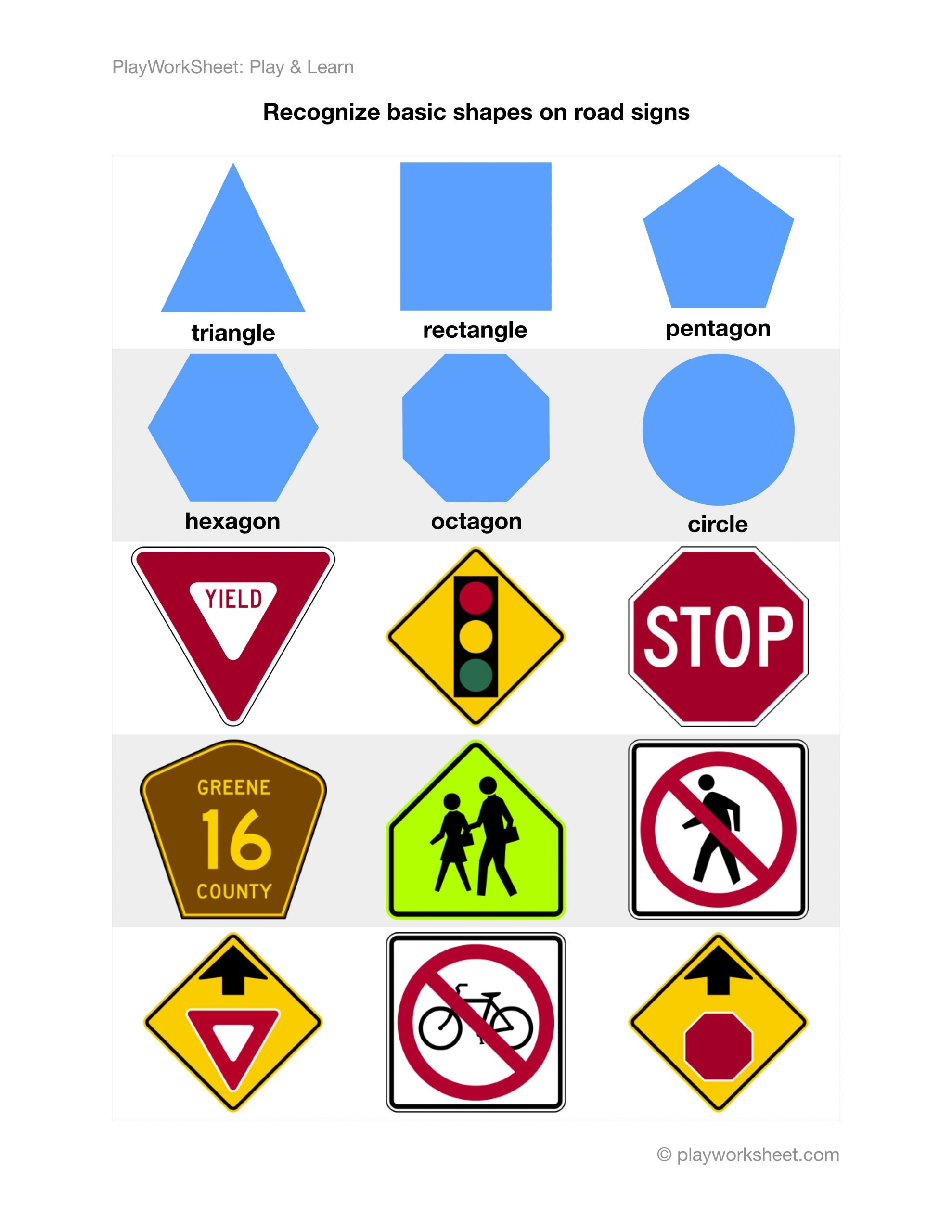 Safety Signs Worksheets Free Recognize Basic Shapes On Road Traffic Signs