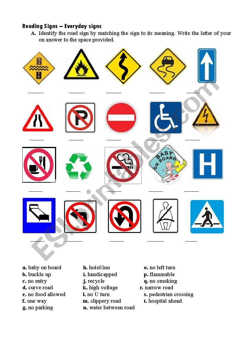 Safety Signs Worksheets Free Road Signs Esl Worksheet by Krungers