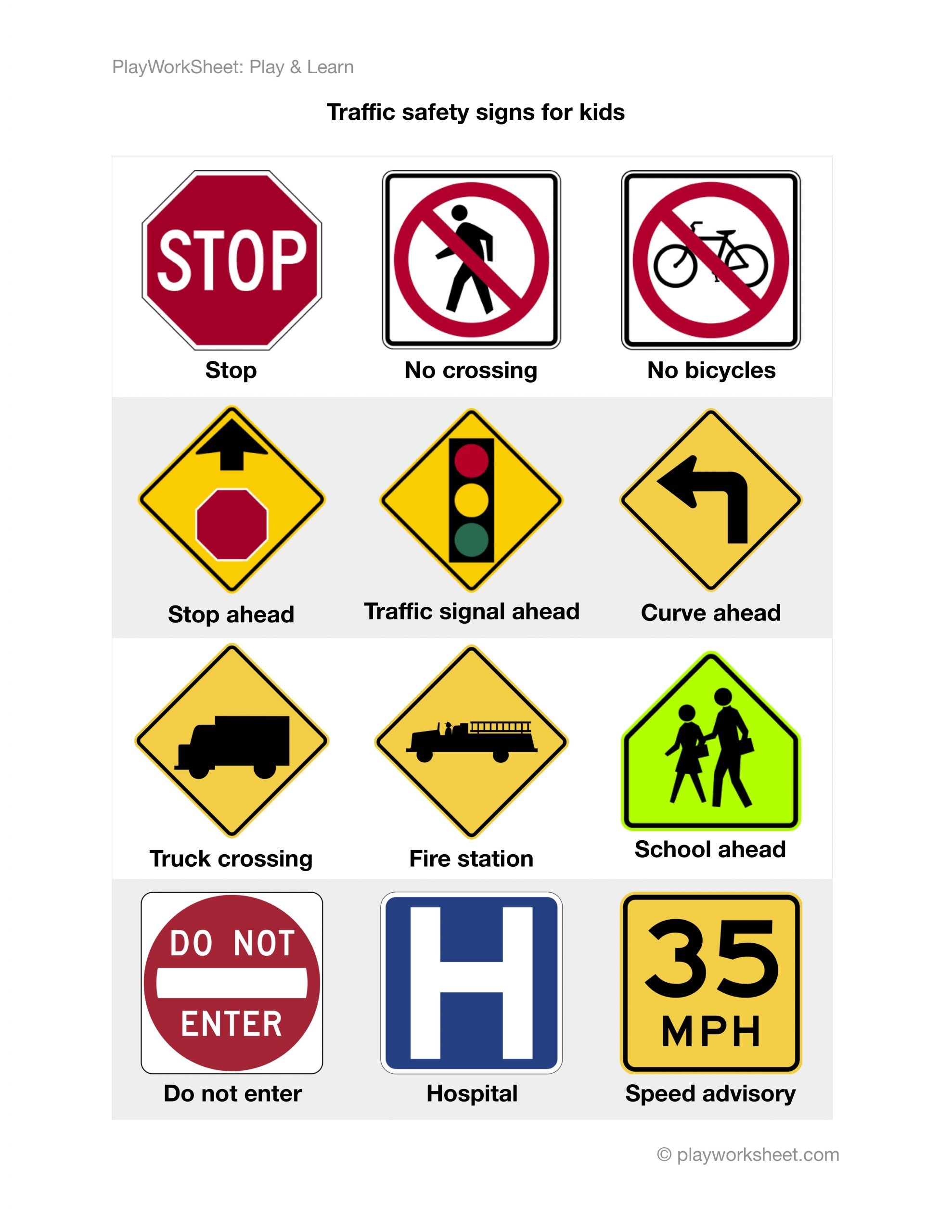 Safety Signs Worksheets Free Road Traffic Safety Signs for Kids
