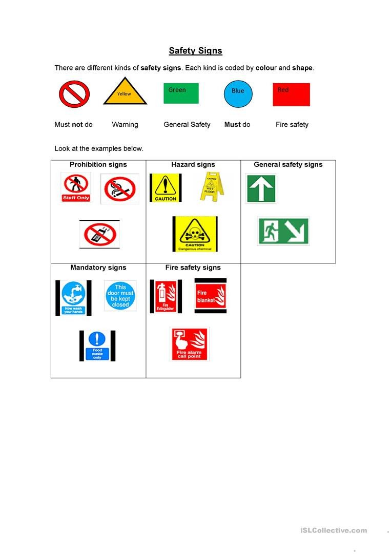 Safety Signs Worksheets Free Safety Signs English Esl Worksheets for Distance Learning