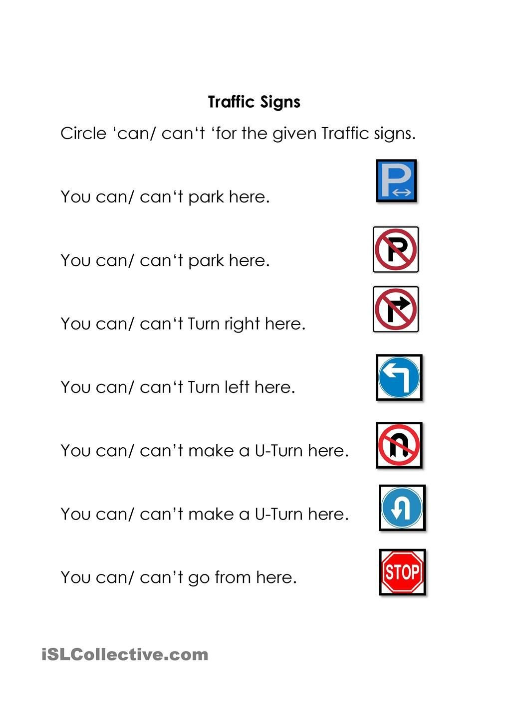 Safety Signs Worksheets Free Traffic Signs
