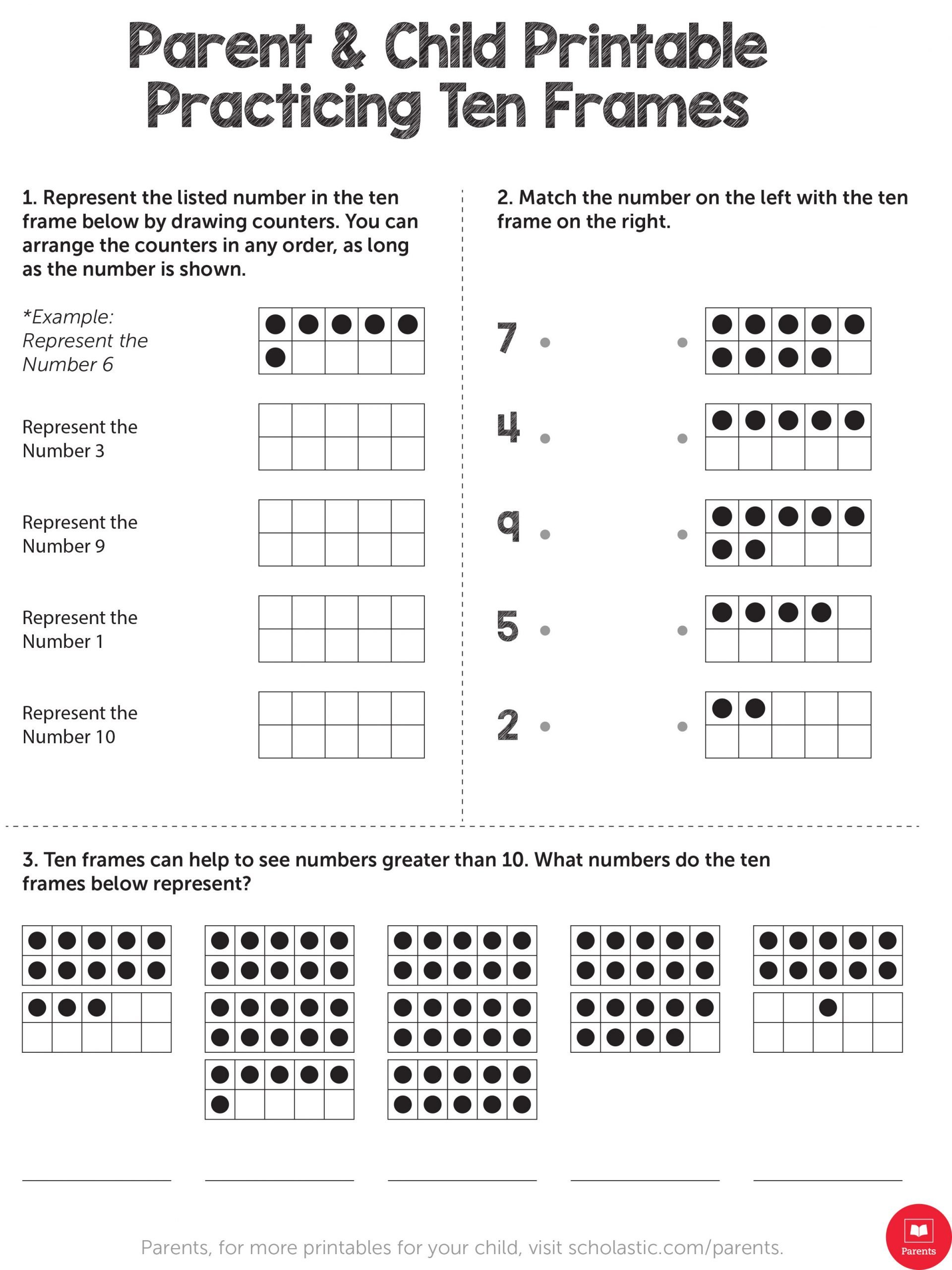 Scholastic Math Worksheets Practicing Ten Frames Worksheets & Printables
