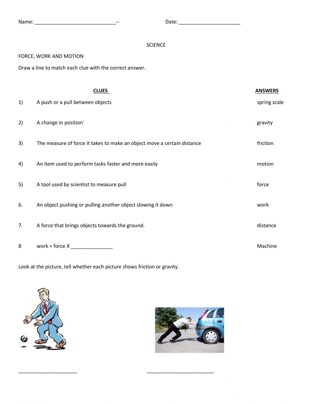 Science force and Motion Worksheets force Work and Motion Interactive Worksheet
